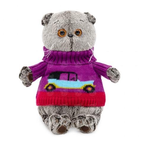 Мягкая игрушка Кот Басик в свитере с машинкой Бишкек и Ош купить в магазине игрушек LEMUR.KG доставка по всему Кыргызстану