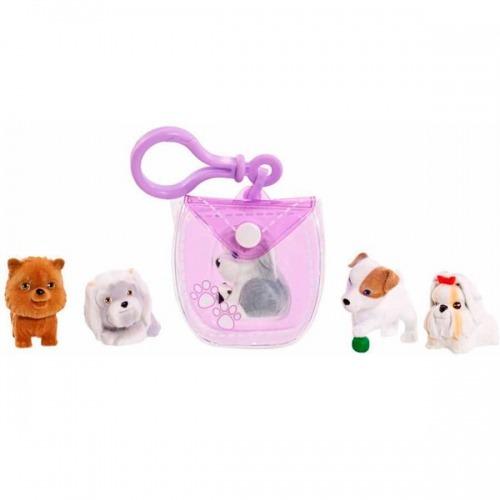 Puppy in my pocket брелок-сумочка фиолетовая с 5 щенками Бишкек и Ош купить в магазине игрушек LEMUR.KG доставка по всему Кыргызстану