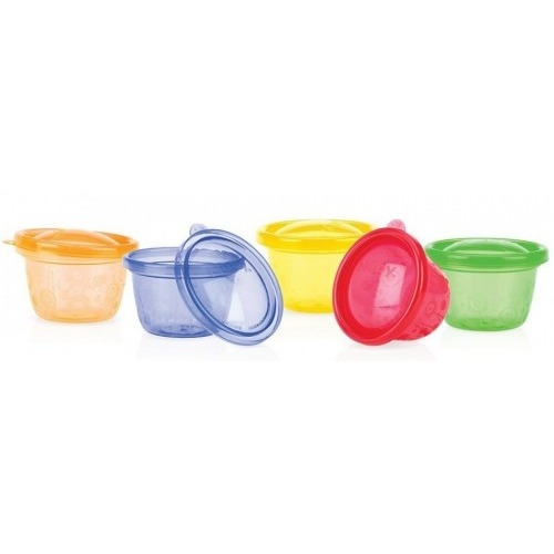 NUBY Набор контейнеров-тарелок с крышками (6 шт.) Бишкек и Ош купить в магазине игрушек LEMUR.KG доставка по всему Кыргызстану