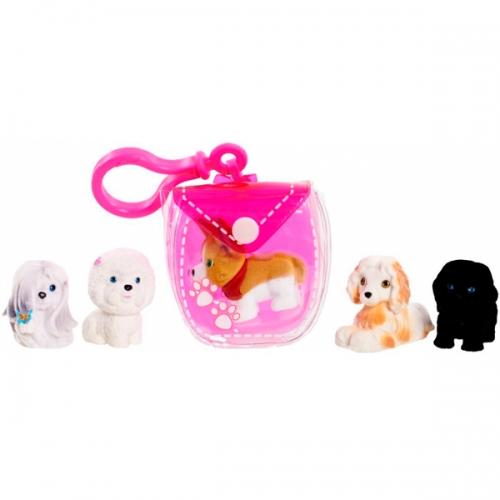 Puppy in my pocket брелок-сумочка розовая с 5 щенками Бишкек и Ош купить в магазине игрушек LEMUR.KG доставка по всему Кыргызстану