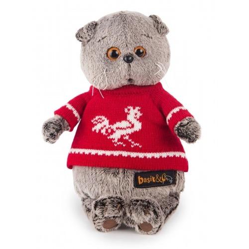 Мягкая игрушка Кот Басик в красном свитере с петушком Бишкек и Ош купить в магазине игрушек LEMUR.KG доставка по всему Кыргызстану