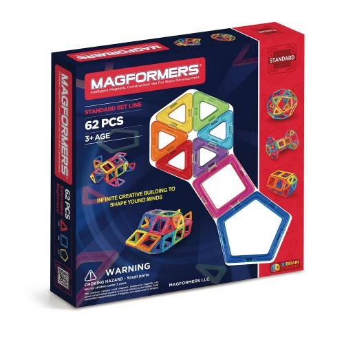 Магнитный конструктор Magformers 62 'Базовый набор' Бишкек и Ош купить в магазине игрушек LEMUR.KG доставка по всему Кыргызстану