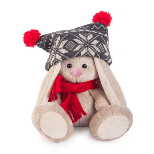 Мягкая игрушка Зайка Ми в черной шапке с помпонами и красном шарфике (малыш) Бишкек и Ош купить в магазине игрушек LEMUR.KG доставка по всему Кыргызстану
