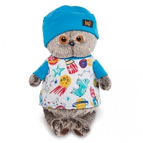 Мягкая игрушка Кот Басик в футболке космос и в шапочке Бишкек и Ош купить в магазине игрушек LEMUR.KG доставка по всему Кыргызстану