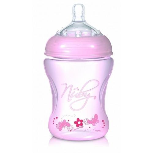 NUBY Бутылочка розовая серии Natural, 240 мл, средний поток, 3+  Бишкек и Ош купить в магазине игрушек LEMUR.KG доставка по всему Кыргызстану