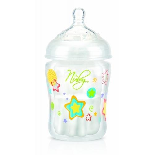 NUBY Специальная супер-антиколиковая бутылочка серии Natural 210 мл, медленный поток, 0+  Бишкек и Ош купить в магазине игрушек LEMUR.KG доставка по всему Кыргызстану