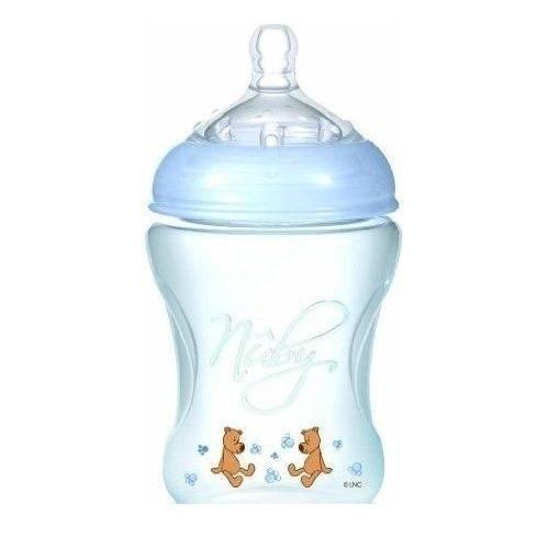 NUBY Бутылочка голубая серии Natural, 240 мл, средний поток, 3+  Бишкек и Ош купить в магазине игрушек LEMUR.KG доставка по всему Кыргызстану
