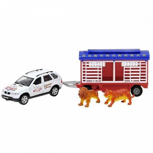 Игрушка набор цирк Volvo XC90 1:24 с прицепом Бишкек и Ош купить в магазине игрушек LEMUR.KG доставка по всему Кыргызстану