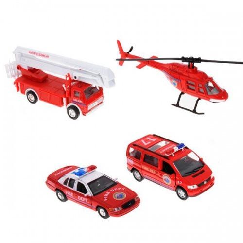 Welly Набор 'Служба спасения - пожарная команда' 4 шт. Бишкек и Ош купить в магазине игрушек LEMUR.KG доставка по всему Кыргызстану