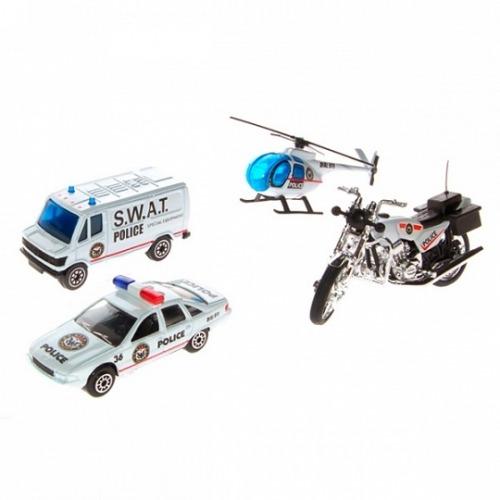 Welly Набор 'Служба спасения - полиция' 4 шт. Бишкек и Ош купить в магазине игрушек LEMUR.KG доставка по всему Кыргызстану
