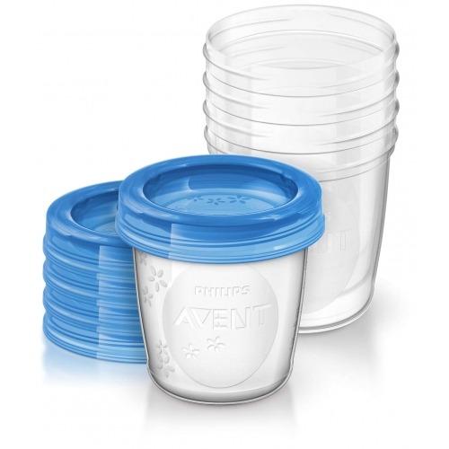 Avent Набор контейнеров 180 мл для Грудного молока 5 шт. c крышками Бишкек и Ош купить в магазине игрушек LEMUR.KG доставка по всему Кыргызстану