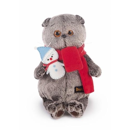 Мягкая игрушка Кот Басик в шарфике со снеговичком Бишкек и Ош купить в магазине игрушек LEMUR.KG доставка по всему Кыргызстану