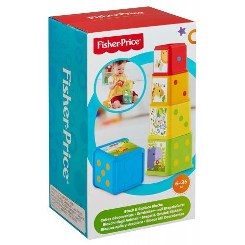 Весёлые кубики 'Складываем и исследуем' Fisher-Price Бишкек и Ош купить в магазине игрушек LEMUR.KG доставка по всему Кыргызстану