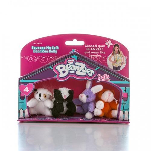 из 4 мини мягких игрушек 'Beanzees' Песик, скунс, кролик, котик Бишкек и Ош купить в магазине игрушек LEMUR.KG доставка по всему Кыргызстану