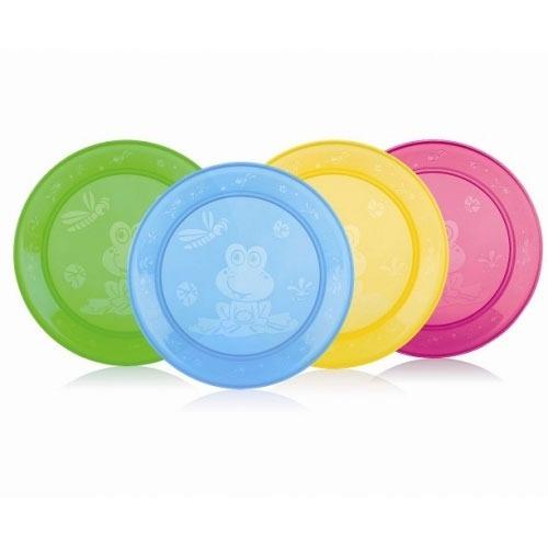 NUBY Набор плоских тарелок с рисунком (4 шт.) Бишкек и Ош купить в магазине игрушек LEMUR.KG доставка по всему Кыргызстану