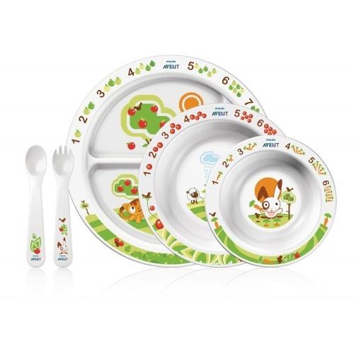 Avent Тарелка с разделителями для порций, глубокая тарелка 450  мл, глубокая тарелка 230 мл, ложка, вилка, 6м+ Бишкек и Ош купить в магазине игрушек LEMUR.KG доставка по всему Кыргызстану