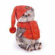 Мягкая игрушка Басик в вязаной шапке и шарфе Бишкек и Ош купить в магазине игрушек LEMUR.KG доставка по всему Кыргызстану